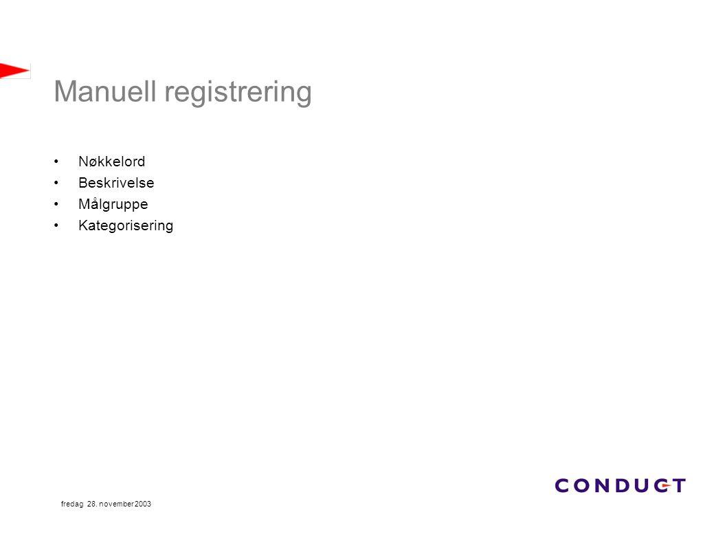 fredag 28. november 2003 Manuell registrering Nøkkelord Beskrivelse Målgruppe Kategorisering