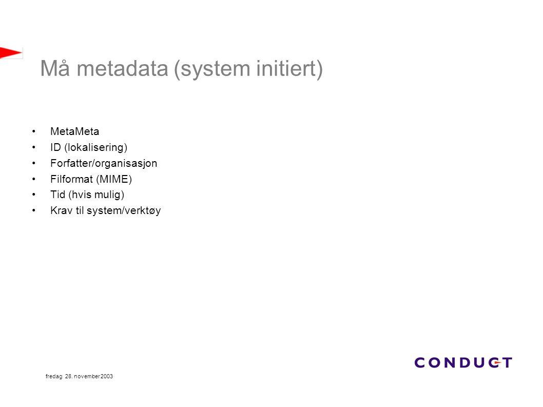 fredag 28. november 2003 Må metadata (system initiert) MetaMeta ID (lokalisering) Forfatter/organisasjon Filformat (MIME) Tid (hvis mulig) Krav til sy