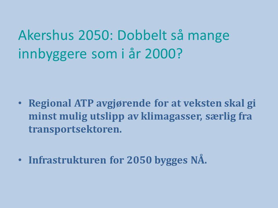 Akershus 2050: Dobbelt så mange innbyggere som i år 2000.