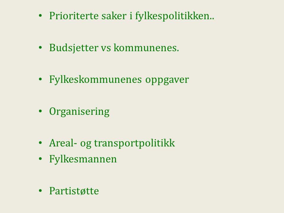 Prioriterte saker i fylkespolitikken.. Budsjetter vs kommunenes.