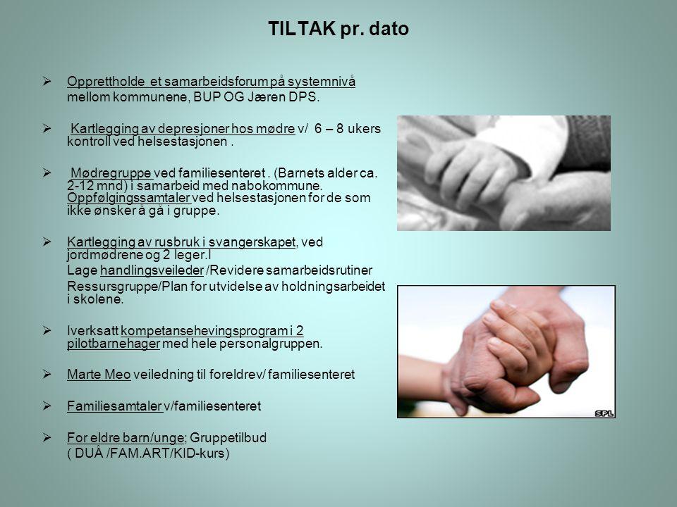 TILTAK pr.dato  Opprettholde et samarbeidsforum på systemnivå mellom kommunene, BUP OG Jæren DPS.