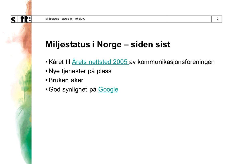 2Miljøstatus - status for arbeidet Miljøstatus i Norge – siden sist Kåret til Årets nettsted 2005 av kommunikasjonsforeningenÅrets nettsted 2005 Nye tjenester på plass Bruken øker God synlighet på GoogleGoogle