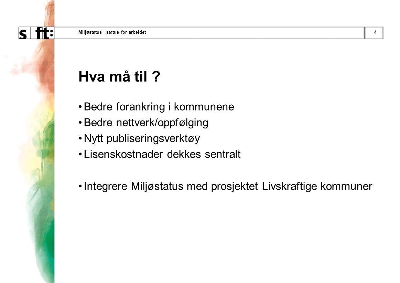 4Miljøstatus - status for arbeidet Hva må til .