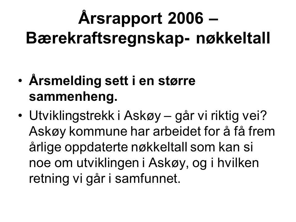 Årsrapport 2006 – Bærekraftsregnskap- nøkkeltall Årsmelding sett i en større sammenheng. Utviklingstrekk i Askøy – går vi riktig vei? Askøy kommune ha