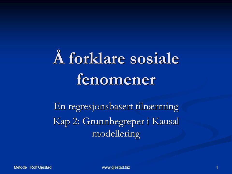 Metode - Rolf Gjestad www.gjestad.biz 1 Å forklare sosiale fenomener En regresjonsbasert tilnærming Kap 2: Grunnbegreper i Kausal modellering
