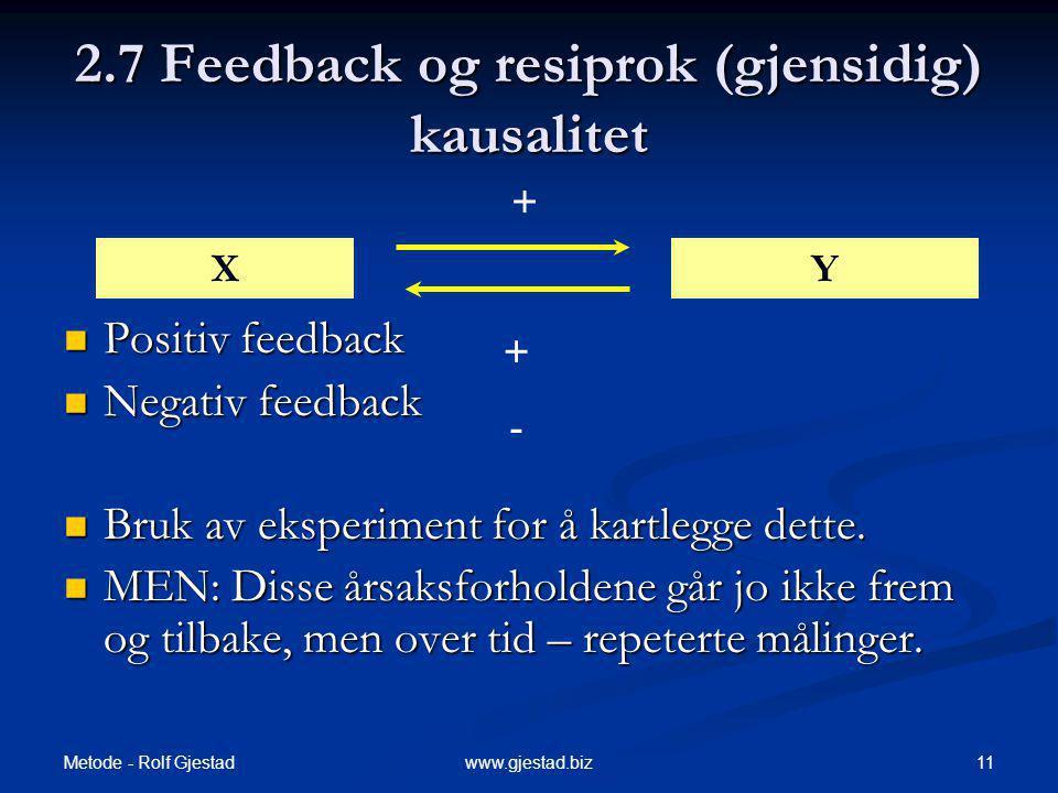 Metode - Rolf Gjestad 11www.gjestad.biz 2.7 Feedback og resiprok (gjensidig) kausalitet Positiv feedback Positiv feedback Negativ feedback Negativ feedback Bruk av eksperiment for å kartlegge dette.