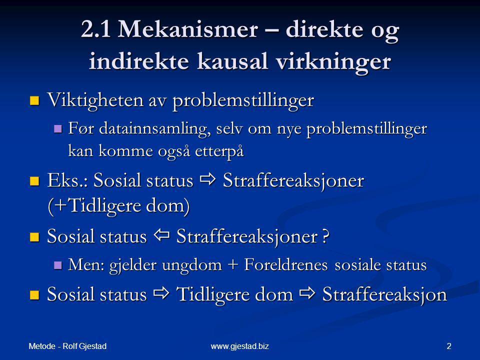 Metode - Rolf Gjestad 2www.gjestad.biz 2.1 Mekanismer – direkte og indirekte kausal virkninger Viktigheten av problemstillinger Viktigheten av problem