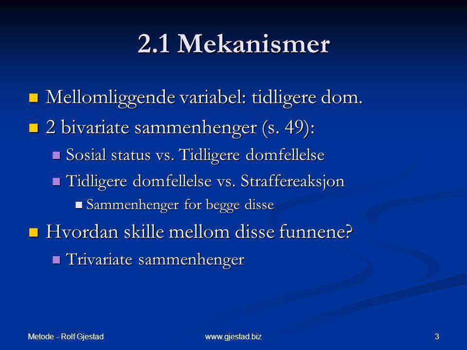 Metode - Rolf Gjestad 3www.gjestad.biz 2.1 Mekanismer Mellomliggende variabel: tidligere dom. Mellomliggende variabel: tidligere dom. 2 bivariate samm