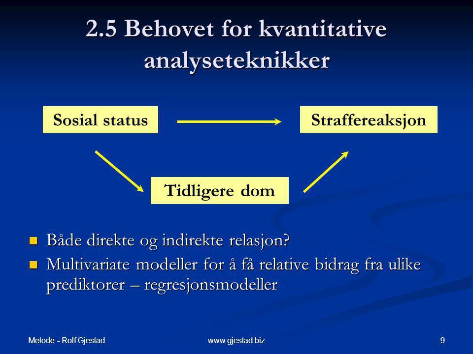 Metode - Rolf Gjestad 9www.gjestad.biz 2.5 Behovet for kvantitative analyseteknikker Både direkte og indirekte relasjon.