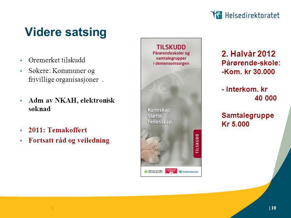 Videre satsing Øremerket tilskudd Søkere: Kommuner og frivillige organisasjoner.