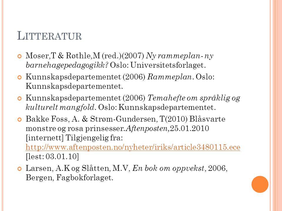 D ISKUSJON Vi ser på klær og leker at det er blitt en voldsom kjønnsdeling, langt mer enn på 70-tallet, da det ikke skulle være forskjeller mellom gutter og jenter, sier Harriet Bjerrum Nielsen, professor ved Senter for tverrfaglig kjønnsforskning ved Universitetet i Oslo (Bakke Foss & Strøm- Gundersen, 2010).