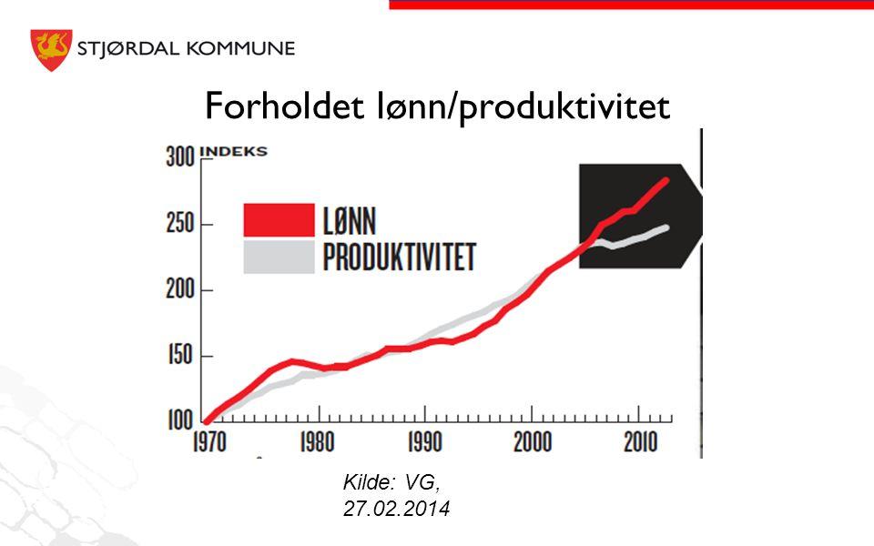 Forholdet lønn/produktivitet Kilde: VG, 27.02.2014