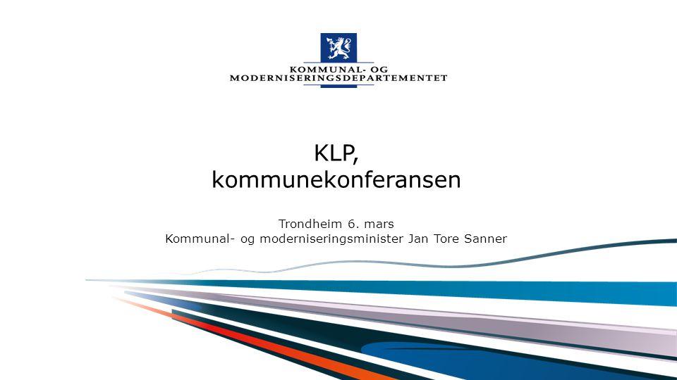 """Kommunal- og moderniseringsdepartementet Norsk mal: Startside ALTERNATIV A Tips for engelsk mal velg KMD mal ENG under """"oppsett"""". KLP, kommunekonferan"""