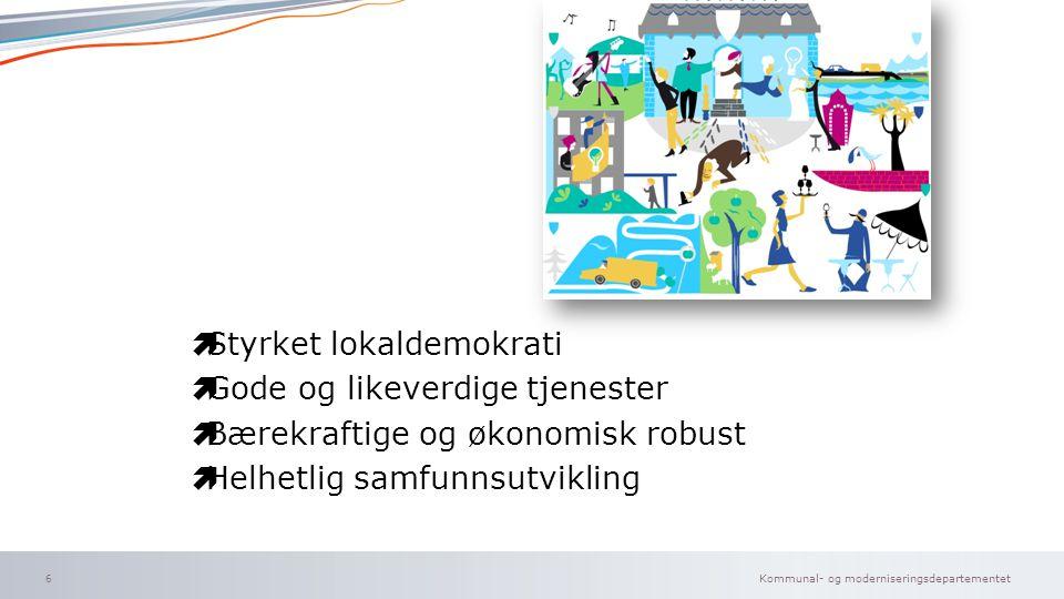 Kommunal- og moderniseringsdepartementet Norsk mal: To innholdsdeler - Sammenlikning  Styrket lokaldemokrati  Gode og likeverdige tjenester  Bærekr