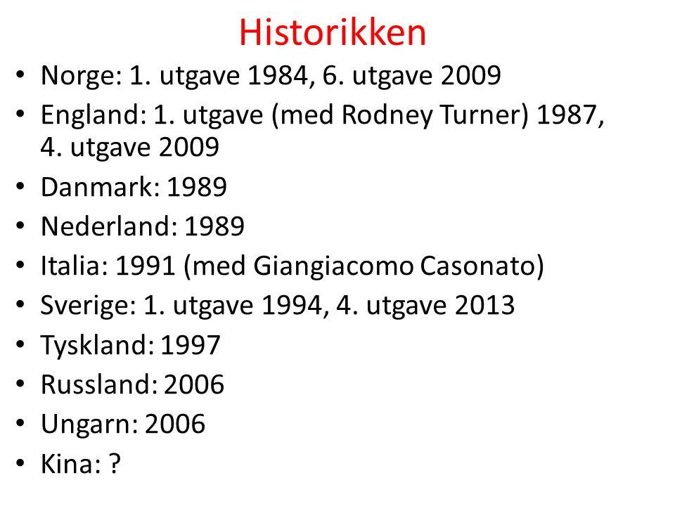 Historikken Norge: 1. utgave 1984, 6. utgave 2009 England: 1. utgave (med Rodney Turner) 1987, 4. utgave 2009 Danmark: 1989 Nederland: 1989 Italia: 19