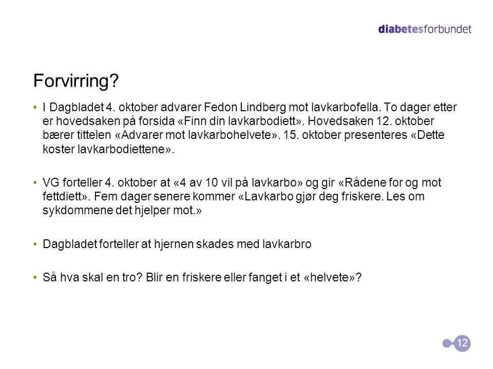 Forvirring? I Dagbladet 4. oktober advarer Fedon Lindberg mot lavkarbofella. To dager etter er hovedsaken på forsida «Finn din lavkarbodiett». Hovedsa