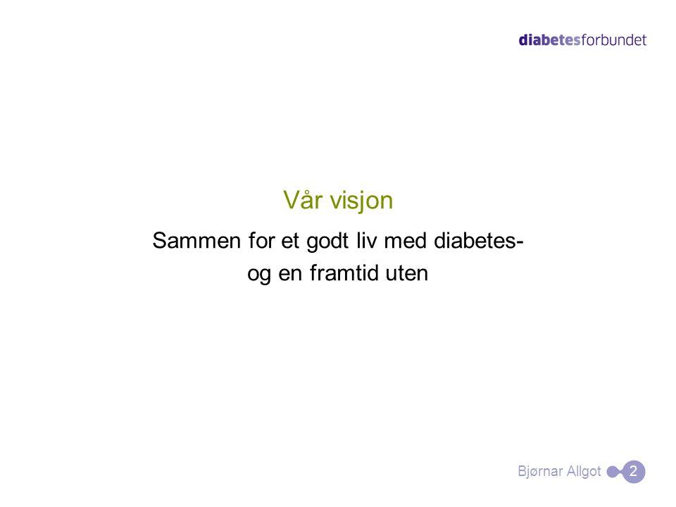 Vår visjon Sammen for et godt liv med diabetes- og en framtid uten Bjørnar Allgot 2