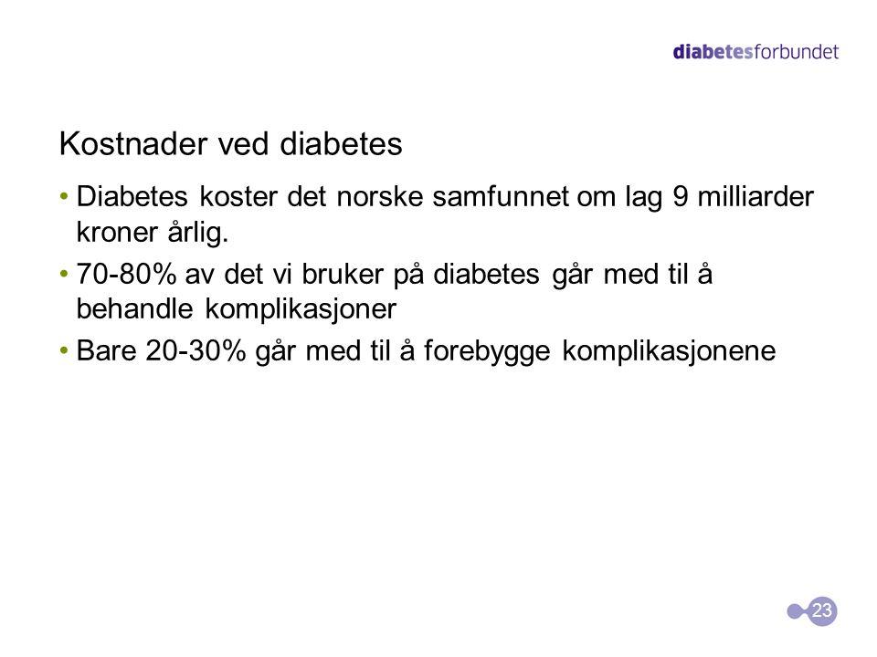 Kostnader ved diabetes Diabetes koster det norske samfunnet om lag 9 milliarder kroner årlig. 70-80% av det vi bruker på diabetes går med til å behand