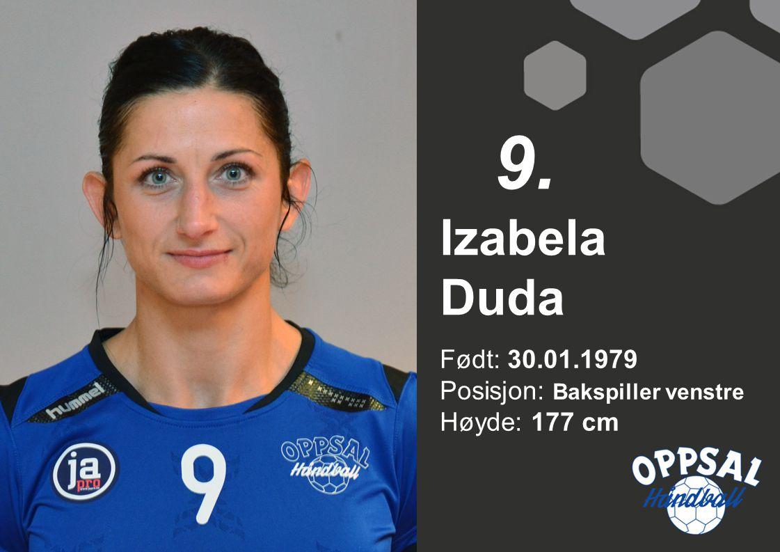 Født: 30.01.1979 Posisjon: Bakspiller venstre Høyde: 177 cm Izabela Duda 9.