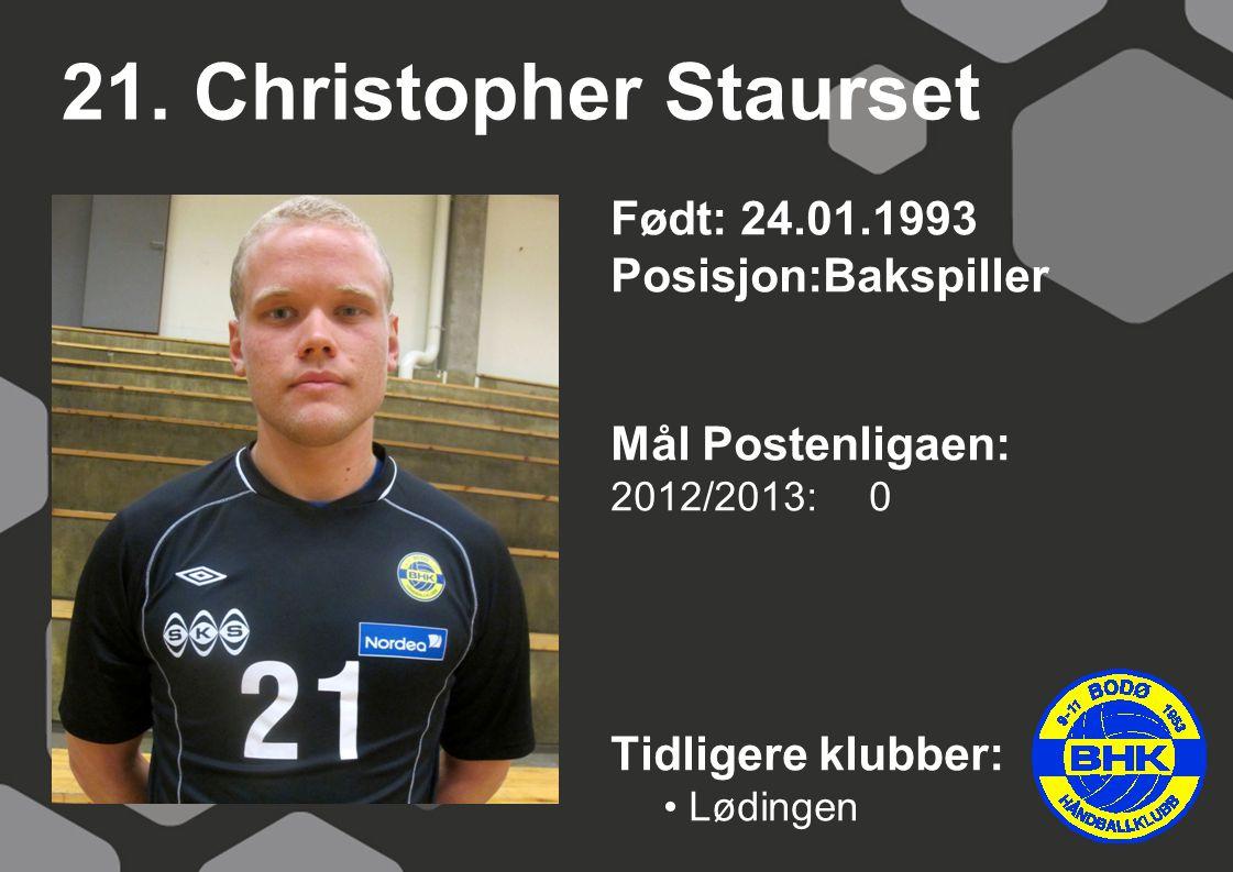 21. Christopher Staurset Født: 24.01.1993 Posisjon:Bakspiller Mål Postenligaen: 2012/2013: 0 Tidligere klubber: Lødingen