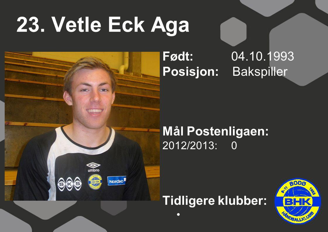 23. Vetle Eck Aga Født: 04.10.1993 Posisjon: Bakspiller Mål Postenligaen: 2012/2013: 0 Tidligere klubber: