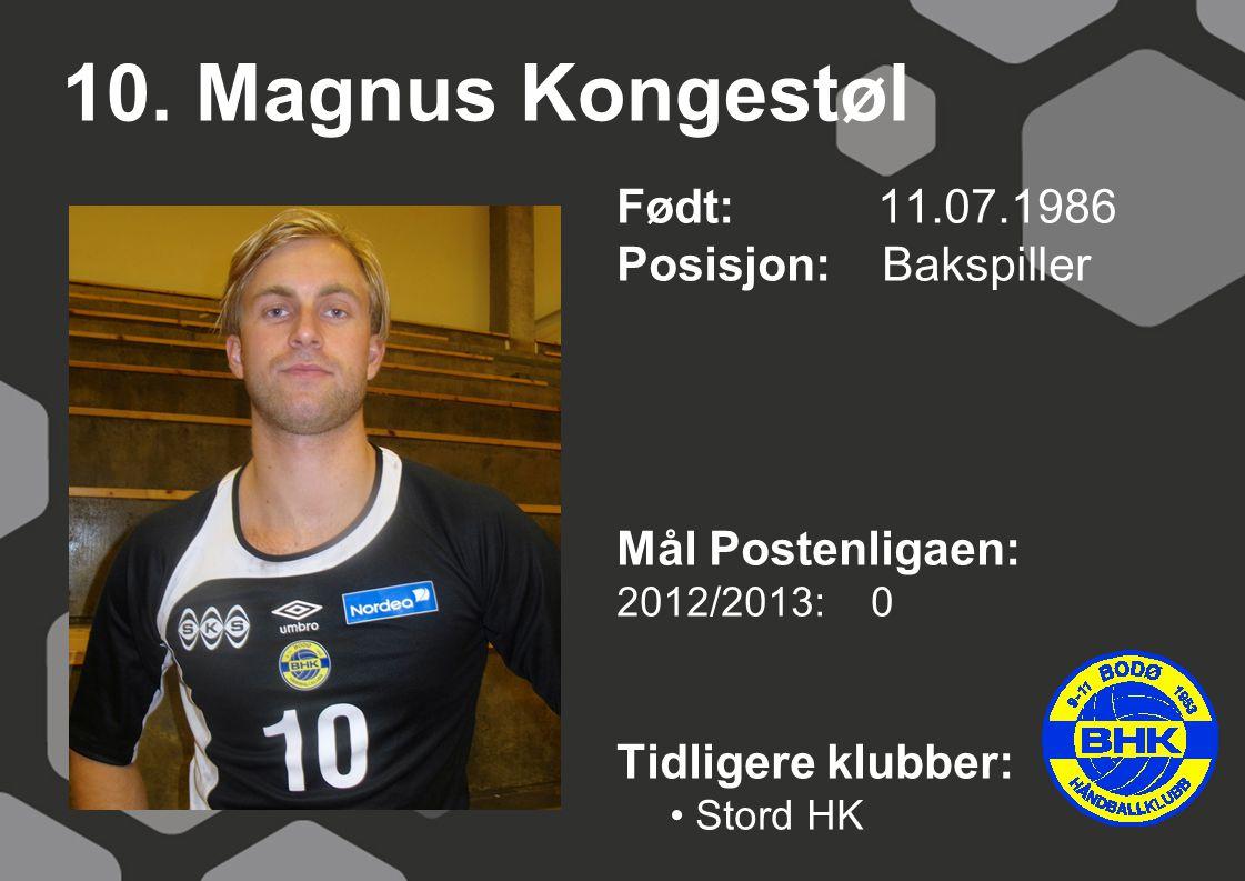 10. Magnus Kongestøl Født: 11.07.1986 Posisjon: Bakspiller Mål Postenligaen: 2012/2013: 0 Tidligere klubber: Stord HK