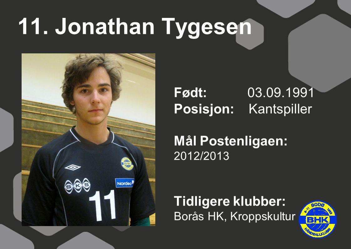 11. Jonathan Tygesen Født: 03.09.1991 Posisjon: Kantspiller Mål Postenligaen: 2012/2013 Tidligere klubber: Borås HK, Kroppskultur