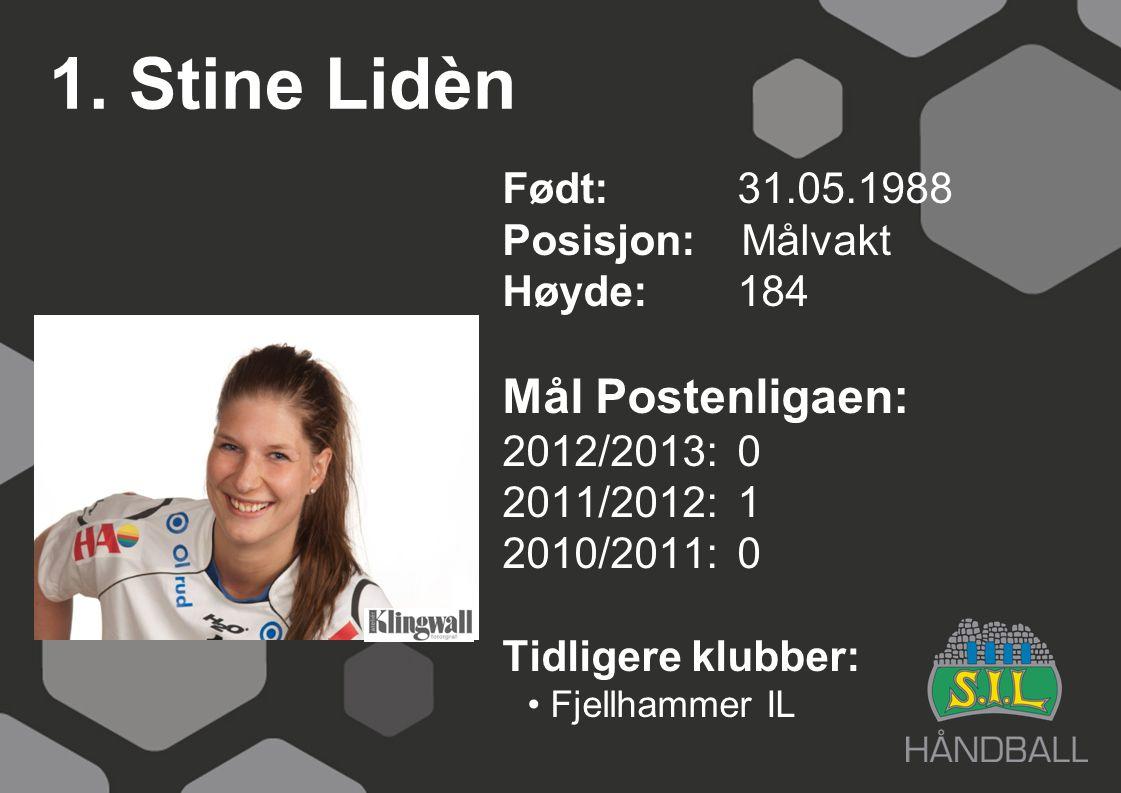 1. Stine Lidèn Født: 31.05.1988 Posisjon: Målvakt Høyde:184 Mål Postenligaen: 2012/2013: 0 2011/2012: 1 2010/2011: 0 Tidligere klubber: Fjellhammer IL
