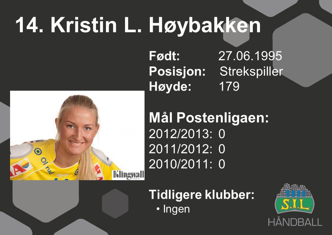 14. Kristin L. Høybakken Født: 27.06.1995 Posisjon: Strekspiller Høyde:179 Mål Postenligaen: 2012/2013: 0 2011/2012: 0 2010/2011: 0 Tidligere klubber: