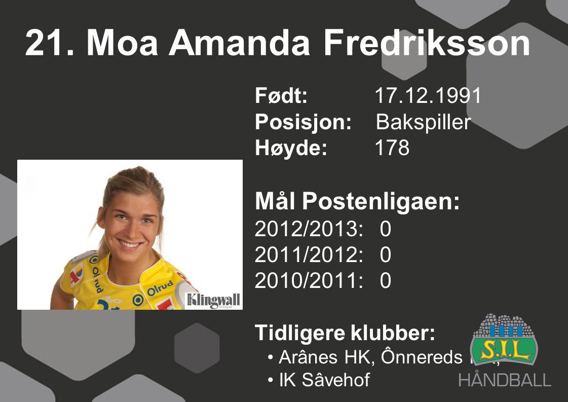 21. Moa Amanda Fredriksson Født: 17.12.1991 Posisjon: Bakspiller Høyde:178 Mål Postenligaen: 2012/2013: 0 2011/2012: 0 2010/2011: 0 Tidligere klubber: