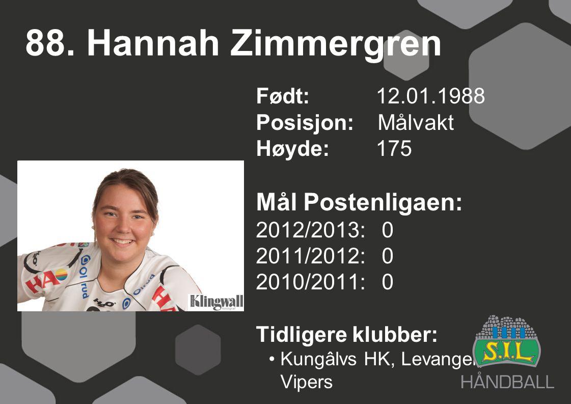 88. Hannah Zimmergren Født: 12.01.1988 Posisjon: Målvakt Høyde:175 Mål Postenligaen: 2012/2013: 0 2011/2012: 0 2010/2011: 0 Tidligere klubber: Kungâlv