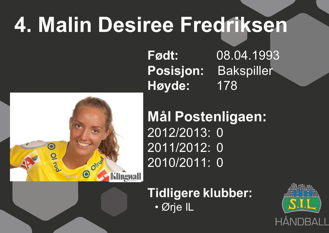 4. Malin Desiree Fredriksen Født: 08.04.1993 Posisjon: Bakspiller Høyde:178 Mål Postenligaen: 2012/2013: 0 2011/2012: 0 2010/2011: 0 Tidligere klubber