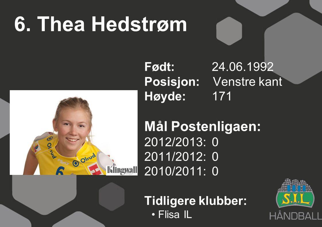 6. Thea Hedstrøm Født: 24.06.1992 Posisjon: Venstre kant Høyde:171 Mål Postenligaen: 2012/2013: 0 2011/2012: 0 2010/2011: 0 Tidligere klubber: Flisa I