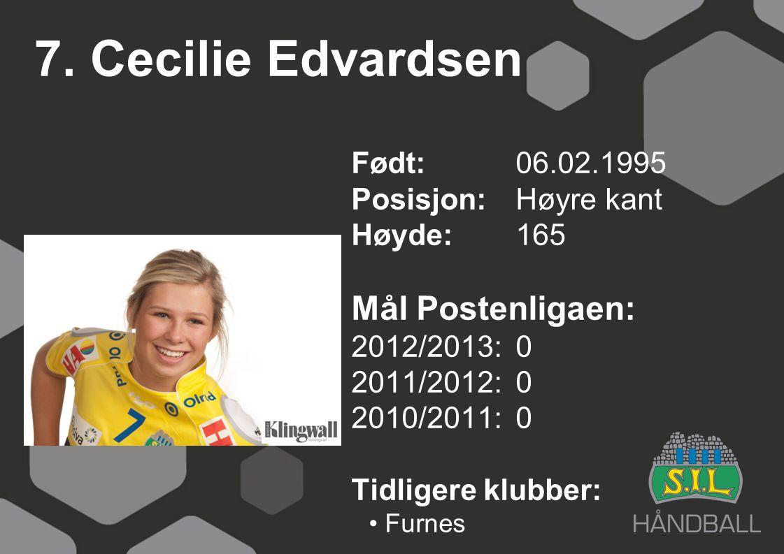7. Cecilie Edvardsen Født: 06.02.1995 Posisjon:Høyre kant Høyde:165 Mål Postenligaen: 2012/2013: 0 2011/2012: 0 2010/2011: 0 Tidligere klubber: Furnes