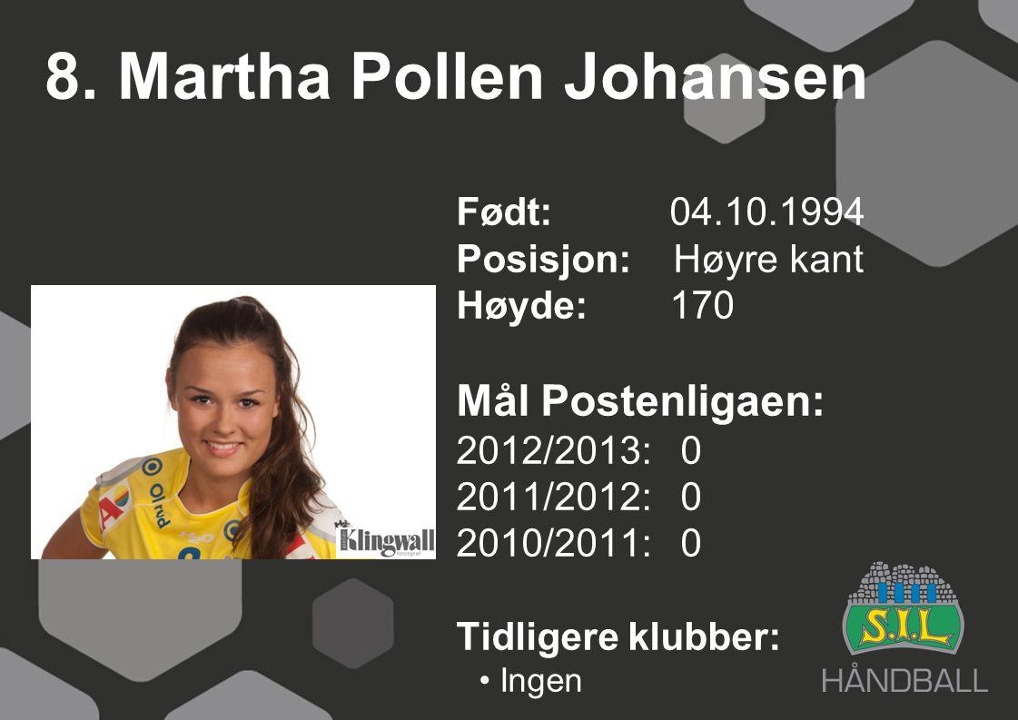 8. Martha Pollen Johansen Født: 04.10.1994 Posisjon: Høyre kant Høyde:170 Mål Postenligaen: 2012/2013: 0 2011/2012: 0 2010/2011: 0 Tidligere klubber: