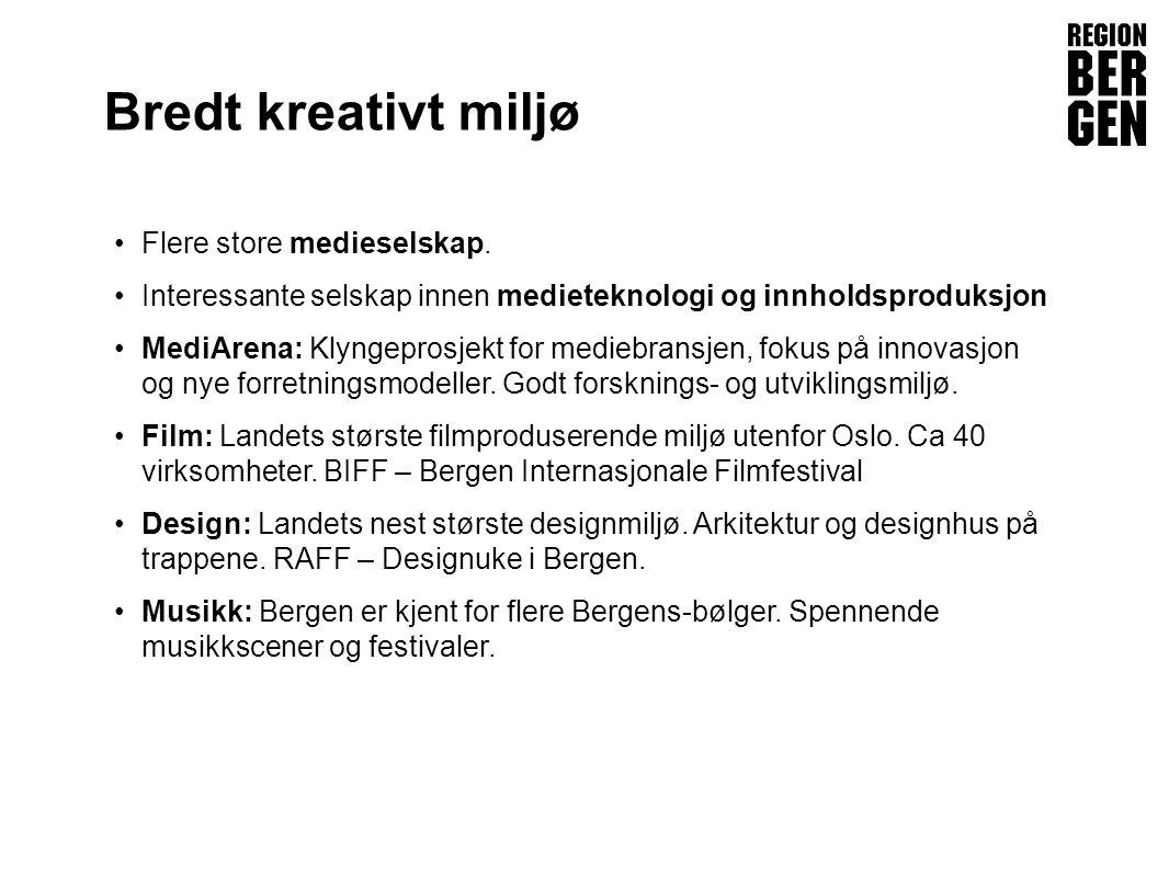 Insert company logo here Bredt kreativt miljø Flere store medieselskap.