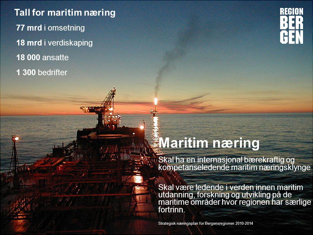 Insert company logo here Maritim næring Skal ha en internasjonal bærekraftig og kompetanseledende maritim næringsklynge Skal være ledende i verden innen maritim utdanning, forskning og utvikling på de maritime områder hvor regionen har særlige fortrinn.