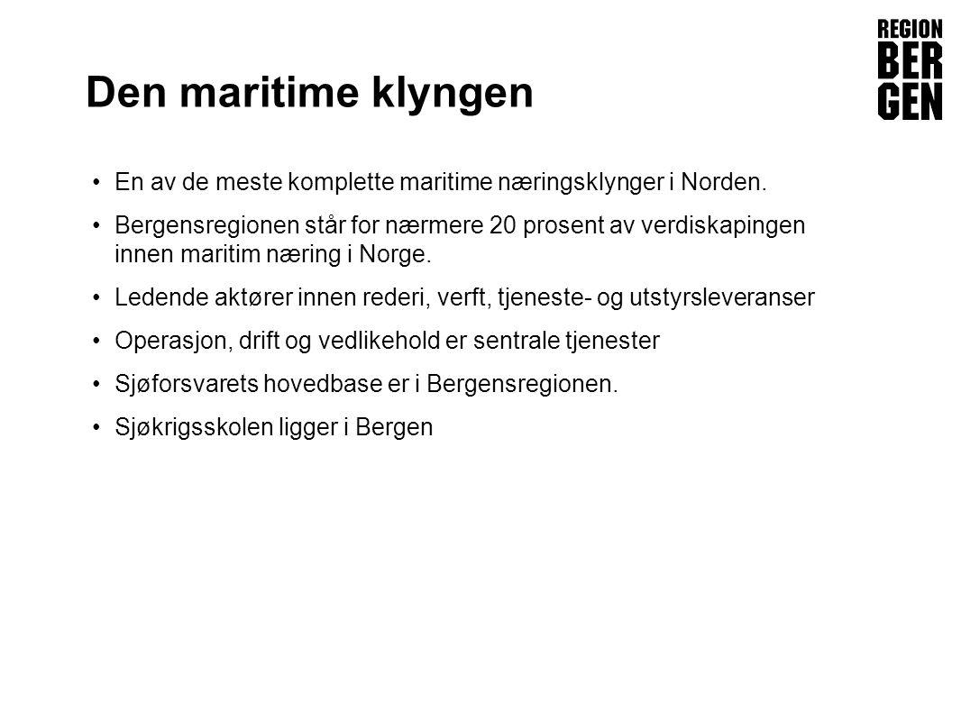 Insert company logo here Den maritime klyngen En av de meste komplette maritime næringsklynger i Norden.