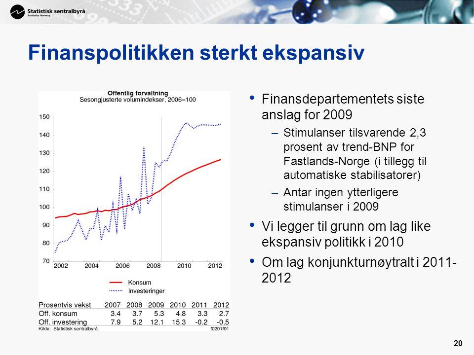 20 Finanspolitikken sterkt ekspansiv Finansdepartementets siste anslag for 2009 –Stimulanser tilsvarende 2,3 prosent av trend-BNP for Fastlands-Norge