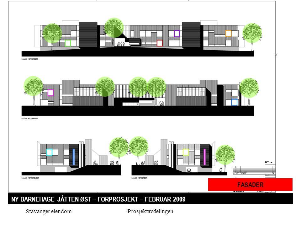 Stavanger eiendomProsjektavdelingen NY BARNEHAGE JÅTTEN ØST – FORPROSJEKT – FEBRUAR 2009 FASADER
