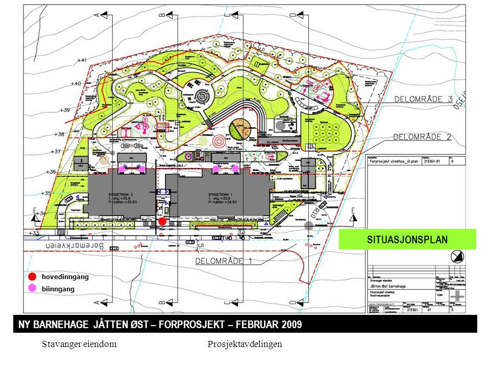 Stavanger eiendomProsjektavdelingen NY BARNEHAGE JÅTTEN ØST – FORPROSJEKT – FEBRUAR 2009 SITUASJONSPLAN hovedinngang biinngang