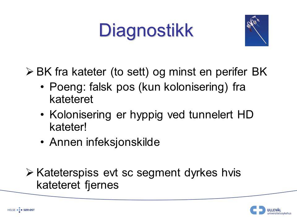Diagnostikk  BK fra kateter (to sett) og minst en perifer BK Poeng: falsk pos (kun kolonisering) fra kateteret Kolonisering er hyppig ved tunnelert H