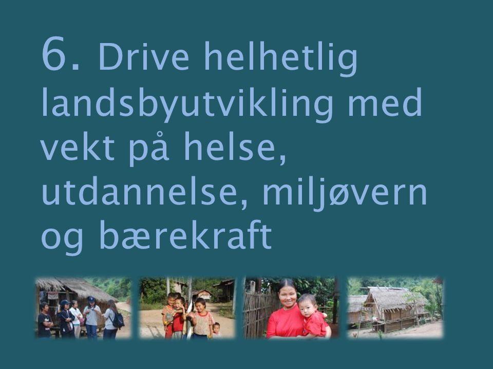6. Drive helhetlig landsbyutvikling med vekt på helse, utdannelse, miljøvern og bærekraft