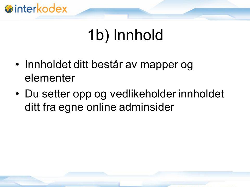 12 1b) Innhold Innholdet ditt består av mapper og elementer Du setter opp og vedlikeholder innholdet ditt fra egne online adminsider