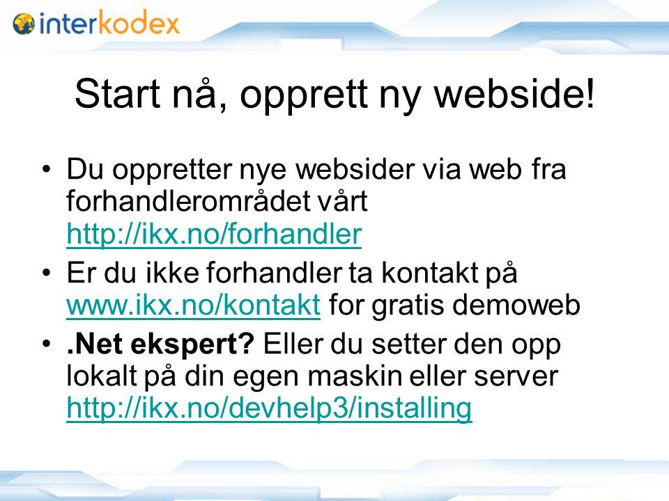 15 Start nå, opprett ny webside.