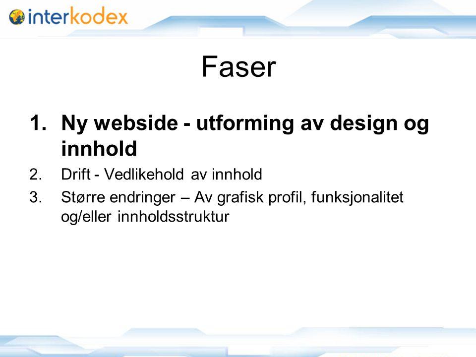 3 Faser 1.Ny webside - utforming av design og innhold 2.Drift - Vedlikehold av innhold 3.Større endringer – Av grafisk profil, funksjonalitet og/eller innholdsstruktur