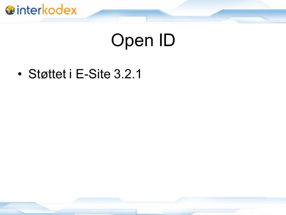 15 Open ID Støttet i E-Site 3.2.1