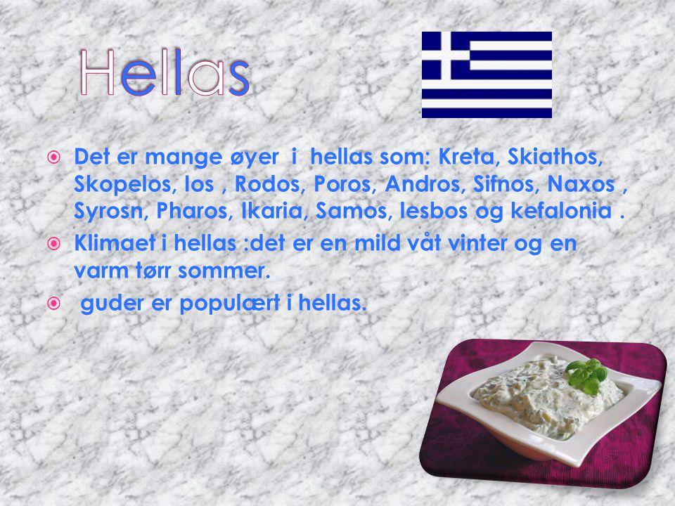  Det er mange øyer i hellas som: Kreta, Skiathos, Skopelos, Ios, Rodos, Poros, Andros, Sifnos, Naxos, Syrosn, Pharos, Ikaria, Samos, lesbos og kefalo