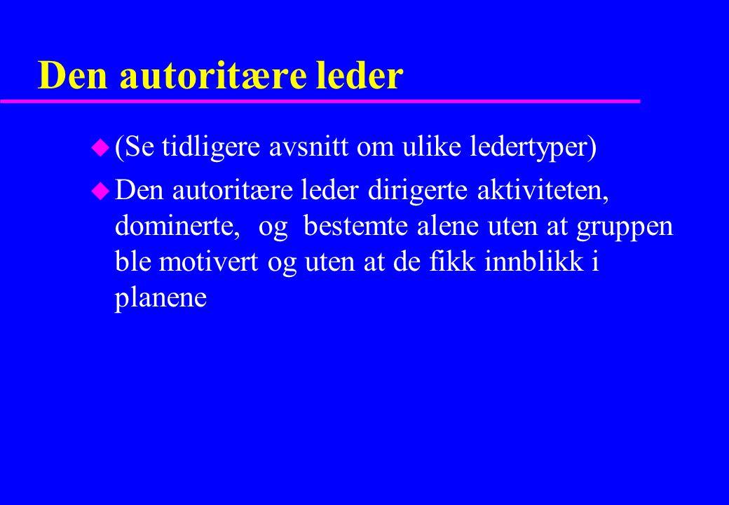 Den autoritære leder u (Se tidligere avsnitt om ulike ledertyper) u Den autoritære leder dirigerte aktiviteten, dominerte, og bestemte alene uten at g