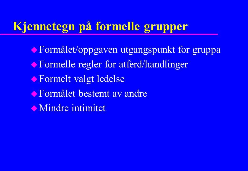 Kjennetegn på formelle grupper u Formålet/oppgaven utgangspunkt for gruppa u Formelle regler for atferd/handlinger u Formelt valgt ledelse u Formålet